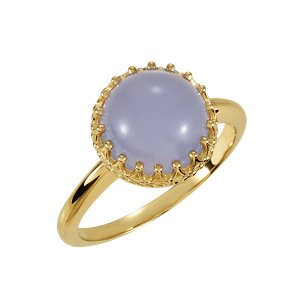 14K Yellow Gold Crown Design Cabochon Ring: Chalcedony Size: 12