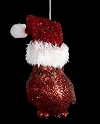 "3"" Red Glittered Cardinal Bird Vertically Perched Christmas Ornament"