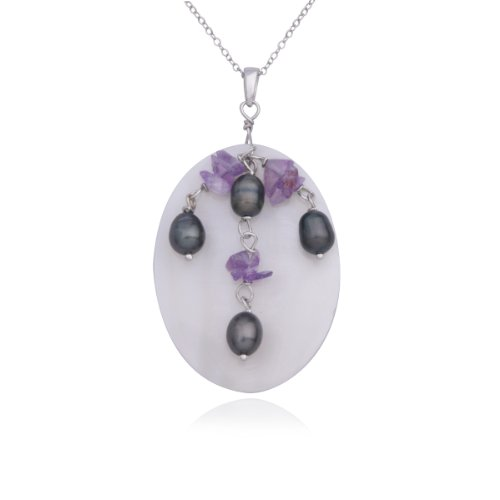 Sterling Silver Oval River Shell, Genuine Grey Pearl and Amethyst Pendant Necklace , 18