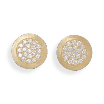 14 Karat Gold Plated Pave CZ Post Earrings