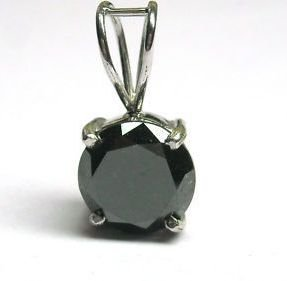 Diamond P D Diamonds 1.00 Cts Black VVS Color Solitaire Diamond Pendant SS 925 (Multicolor)