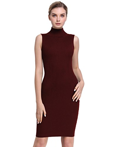 PrettyGuide Women Sleeveless Turtleneck Ribbed Knit Casual Bodycon Sweater Dress Burgundy L