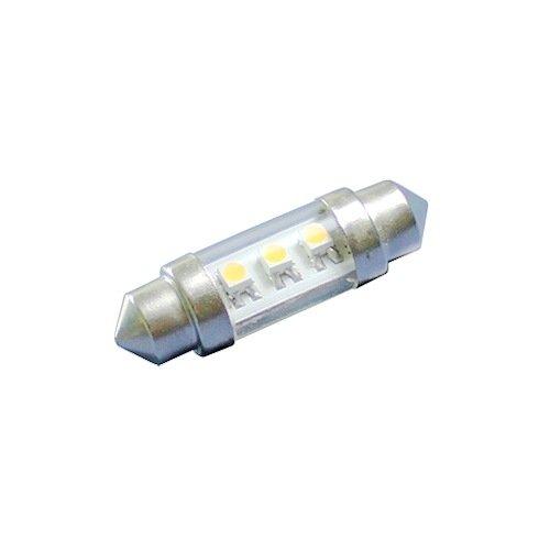 Ledwholesalers Festoon, 37Mm, 3-Smd3528 Led Of 3-Chip, Warm White, Clear Tube, 10-30V Dc, 1437Ww