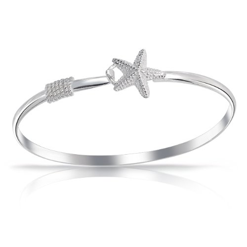 Bling Jewelry 925 Sterling Silver Nautical Starfish Hook Closure Bangle Bracelet