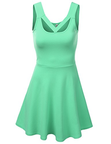 J.Tomson Womens Sleeveless Dress With Geometric Cut Out Mint Large