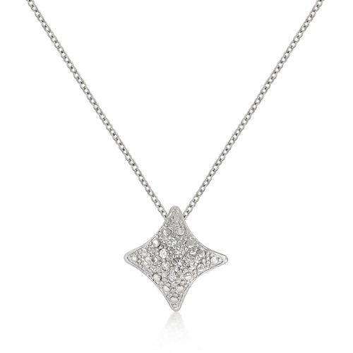 White Gold Rhodium Bonded to a Lead Free Alloy Base Metal CZ Star Crest Pendant in Silvertone