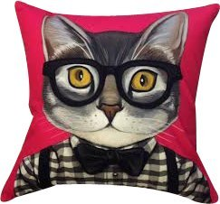 """Artiwa Funny & Cute Kitty Cat Cotton & Soft Velvet Sofa Couch Throw Decorative Pillow Cover 18""""X18"""" Fuchsia Pink front-103419"""