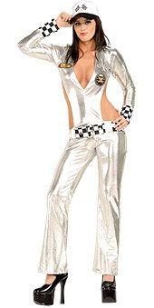 Sexy Race Car Driver Costume Jumpsuit Silver Shimmery Black XS, S, M