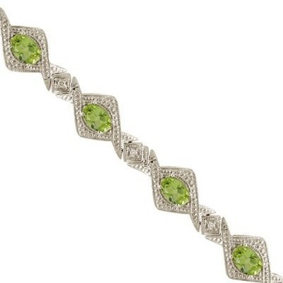 Antique Style Peridot and Diamond Link Bracelet 14k White Gold (5.63ctw)