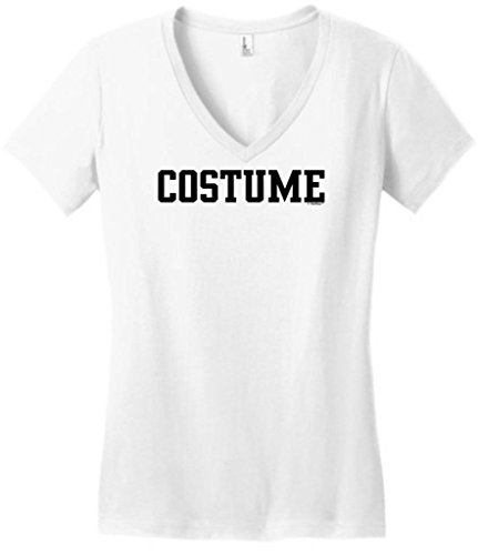 [Funny Generic Halloween Costume Juniors V-Neck Small White] (Jack White Halloween Costume)
