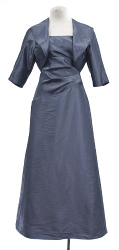 Alex Evenings Slate Blue Sateen Sleeveless Dress With Bolero Jacket 6P