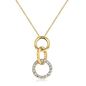 14K Yellow Gold GP Simulated Diamond Triple Circle Necklace