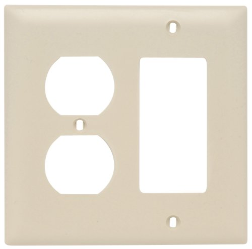 Pass and Seymour TP826ICC12 Trade Master Nylon Wall Plate with One Duplex and One Decorator Opening, Two Gang, Ivory