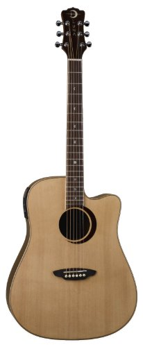 Luna Oracle Series Eclipse Solid Top Dreadnought Cutaway Acoustic-Electric Guitar - Natural
