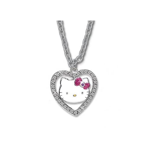 Licensed Hello Kitty Crystal Heart Pink Bow Charm Necklace