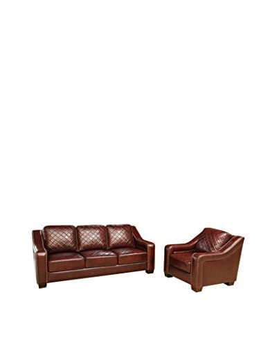 Abbyson Living Princeton Top Grain Leather Sofa And Armchair Set, Burgundy