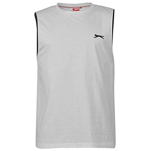 Slazenger Mens Sleeveless T Shirt Cotton Tee Top Vest Lightweight Crew Neck White L