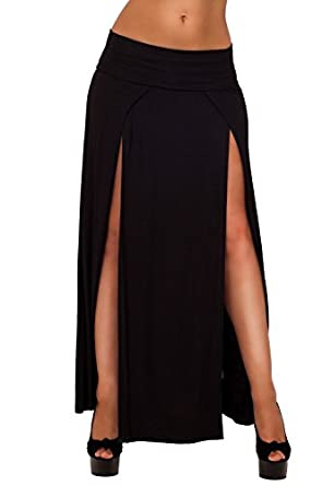 Womens Casual Jersey Double High Slit Low Rise Wide Waistband Maxi