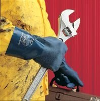 "Best Medium 14"" Ultraflex II Neoprene Chemical Resistant Gloves w/ Rough Finish & Gauntlet Cuff."