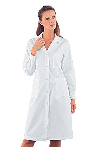 Isacco Camice Donna - Isacco Bianco, Bianco, S, 65% Poliestere 35% Cotone, Manica Lunga, Bottoni a pressione - Tessuto 150 gr/m²