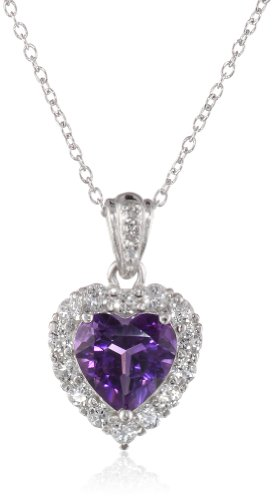 Sterling Silver, Amethyst, and White Topaz Heart Pendant Necklace