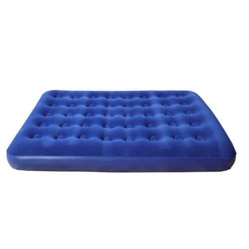 Inflatable Flocked Double Air Bed with Pump- 185x137x13cm