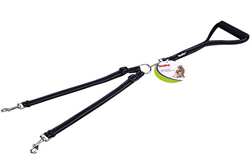 PUPTECK Reflective Double Dog Leash No Tangle with Handle Dual Nylon Lead Black for Small Large Dogs Walking (Split Leash compare prices)