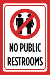 No Public Restrooms Print Red Black White Picture Symbol Customer Service Notice Business Office Sign (Customer Pictures compare prices)