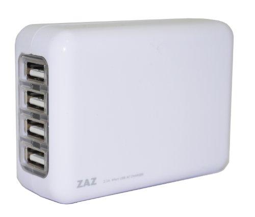 ZAZ 4ポート USB充電器 ACアダプター iPad /その他タブレット対応 DC5.0V 2.1A出力 (ホワイト)