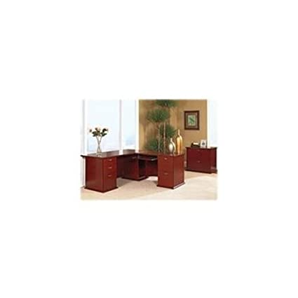 Lorell Right Return Pedestal, 42 by 24 by 29-Inch, Mahogany