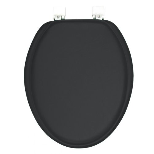 Toilet lid and tank covers ginsey classique elongated cushion soft padded toilet seat black - Commode classique ...