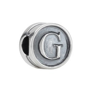 10.60 mm Kera Alphabet Cylinder Bead Sterling Silver G