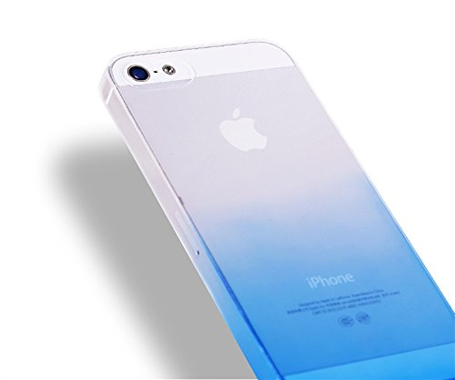 big sale 9ba0a 7a4e2 Egotude Gradient Soft Silicone Transparent Back Cover Case for Apple iPhone  5S & 5 - Blue