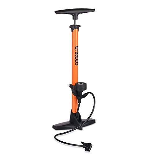 Enkeeo Bike Floor Pump 160 PSI Track Pump with Gauge Fits Presta & Schrader (No Valve Changing Needed) for Bike Tires Sports Balls Airbed and Water Toy ( Needle/Plastic Valve Adapter Included, Orange) (Trek Bicycle Tires compare prices)