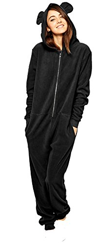 Summerwhisper Women's Ear Hoody One Piece Fleece Playsuit Onesie Pajamas Black Medium (Black Bear Pajamas compare prices)