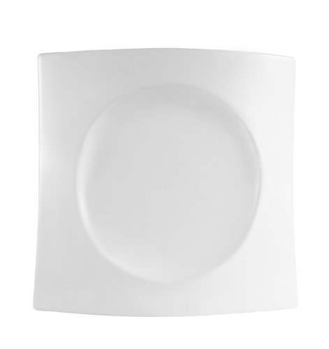 CAC China FSB-7 Fashion Bridge 7-1/2-Inch by 7-1/4-Inch by 1-1/4-Inch Super White Porcelain Plate, Box of 24