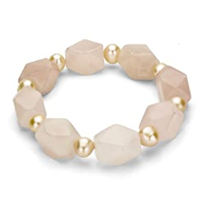 9-10mm Pink Cultured Freshwater Pearl with 13x14mm Rose Quartz Gemstones Stretch Bracelet, 8