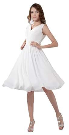 herafa p31070-8 Robes De Bal Style Minimaliste Col V Sans manche Ruché Au genou Princesse Blanc