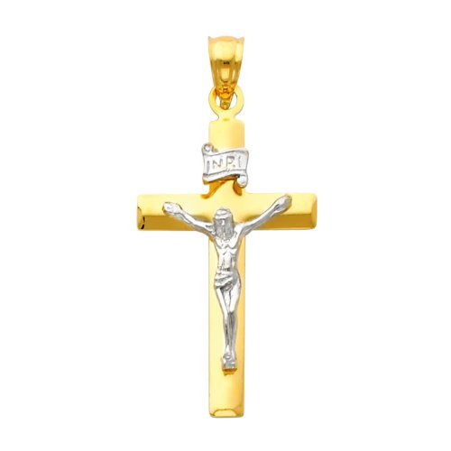 14K Yellow and White Gold 2 Two Tone Gold Crucifix Cross Charm Pendant
