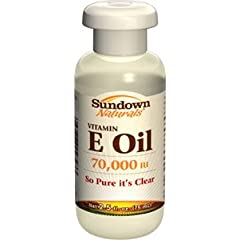 Sundown Vitamin E Oil 70000 IU. Enjoy the moisturizing benefits of our luxuriously pure Vitamin E Oil...which is so pure, it's clear! This penetrating oil provides your skin with all the benefits of pure Vitamin E, thoroughly moisturizing dry skin an...