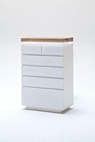 Kommode Romina matt weiß, Deckplatte Asteiche Massivholz mit LED Beleuchtung
