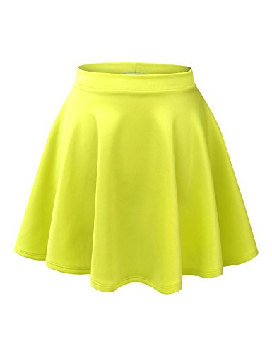 Womens Versatile Stretchy Flared Neon Yellow Skater Skirt.