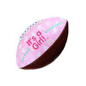 """IT'S A GIRL"" FOOTBALL -BIRTH ANNOUNCEMENT/Keepsake/GIFT/Pink - INCLUDES DISPLAY BOX/Shower/CHRISTENING/NEW BABY GIFT 5"" INCLUDES Plastic DISPLAY Box"