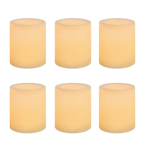 Inglow CG10286CR6 Battery-Operated 1-3/4-Inch Flameless Wax-Covered LED Votive Candle, 6-Pack, Cream