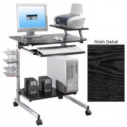 "Mobile Computer Desk w/ Adjustable Shelf -Espresso (Espresso) (41.5""H x 31""W x 23.5""D)"