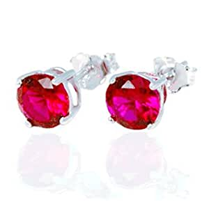 .925 Sterling Silver Ruby Color Cubic Zirconia Stud Earrings 2.00 Carats Total Weight Comes in a Gift Box & Special Pouch