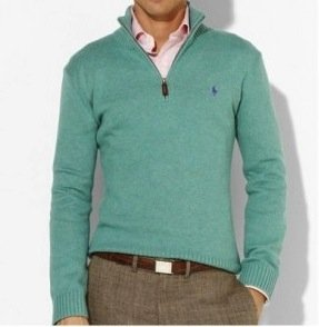 Polo Ralph Lauren Mens Cotton Half Zip Jumper Sweater in Mint Green (Large)