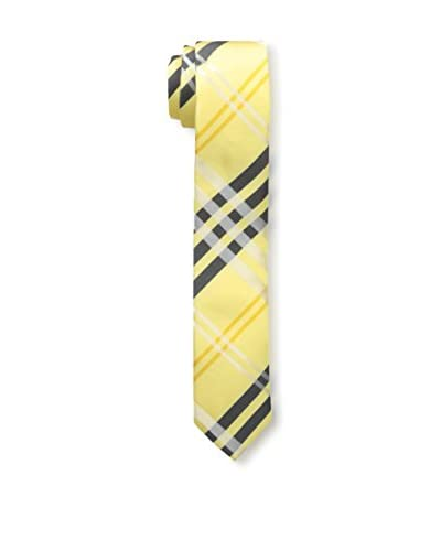Skinny Tie Madness Men's 2″ Plaid, Yellow