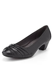 Footglove™ Leather Wide Fit Knot Court Shoes