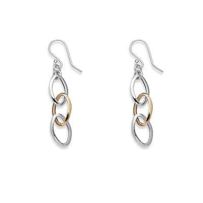 Fashionable Sterling Silver Earrings with Charm Gold Plated Alternating Oval Links(WoW !With Purchase Over $50 Receive A Marcrame Bracelet Free)